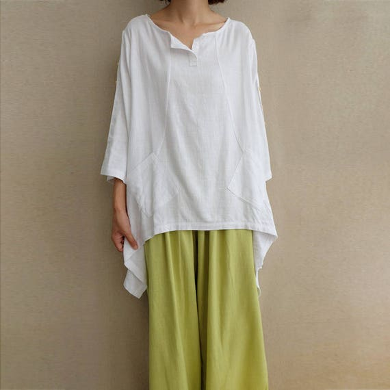linen top long sleeve top Linen crop top white linen blouse white linen top pocket top with long sleeves loose top C859 summer top