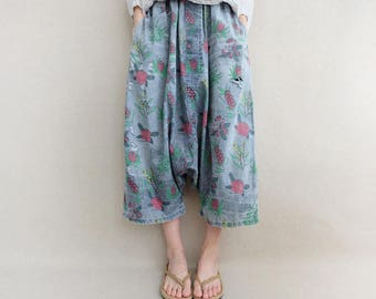 Women Printed Denim Pants Beach Pants, Cropped Pants Elastic Waist Cotton Zen Pants, Harem Pants Wide Leg Pants, Broken-hole Jeans