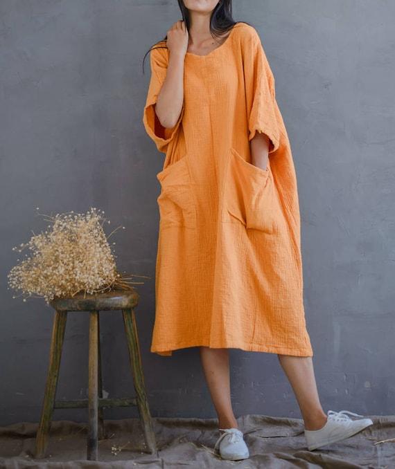 Women Loose Cotton Dress Plus Size Dress, Leisure Dress Summer Dress House  Dress, Yellow Dress With Pockets