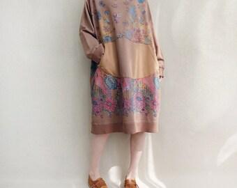 Women Vintage Floral Dress Loose Fitting Dress, Comfortable Dress Maternity Dress Autumn Sweatershirt Dress Cotton Tunic Dress