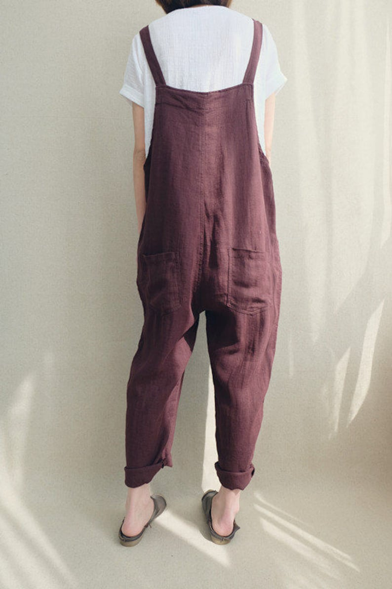 c1f3e8071e4 Women Casual Linen Jumpsuits Overalls Pants With Pockets