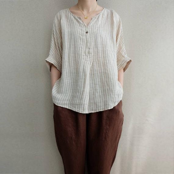 Women Summer Clothing Leisure Blouse Comfortable Linen V Neck Striped Tops Summer T shirt Asymmetrical Tops Linen Clothing