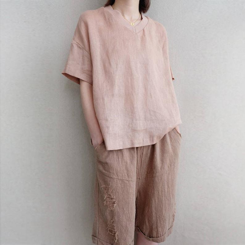 Women Leisure Linen Tops Summer V Neck Blouse Vintage T-shirt