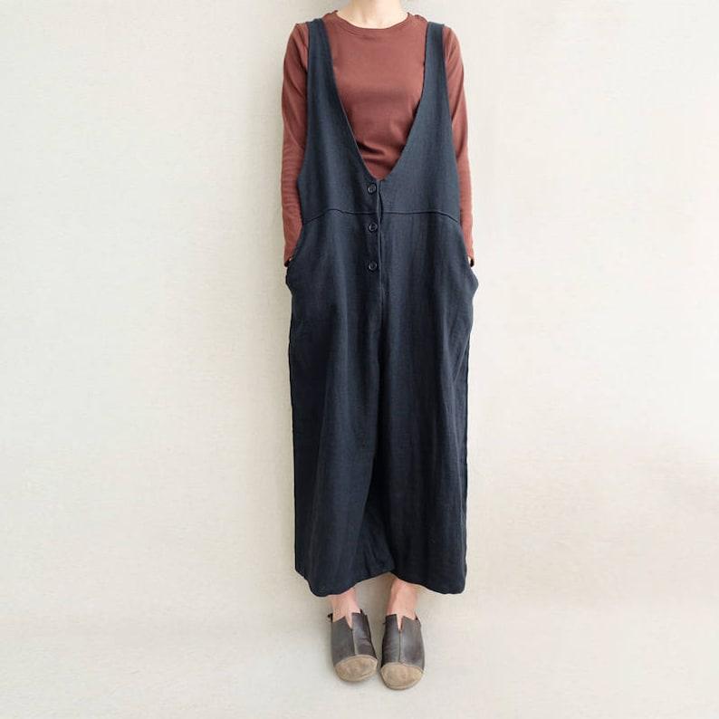 bec839a1f1d Women Leisure Cotton Jumpsuits Linen Overalls Wide Leg Pants