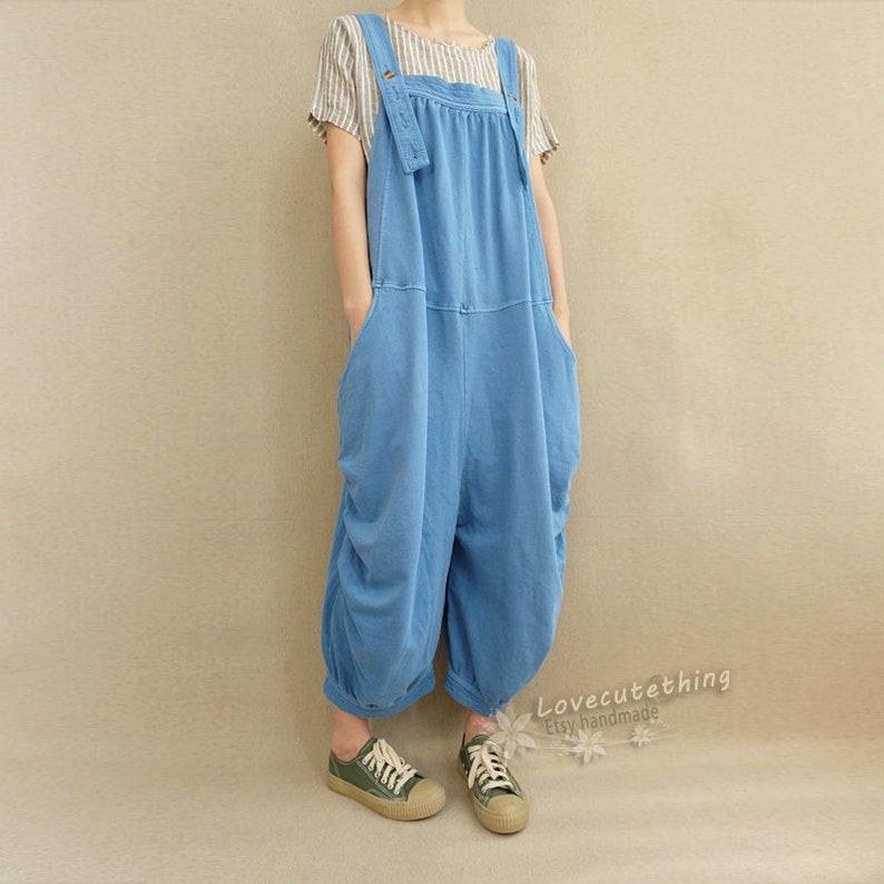 Women Loose Cotton Jumpsuits Overalls Pants With Pockets Adjustable Summer Casual Pants Comfortable bib Legging Pants