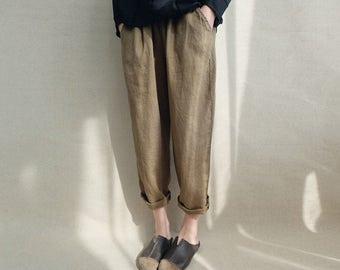 Women Loose Casual Harem Pants Linen Trousers Legging Cropped Pants