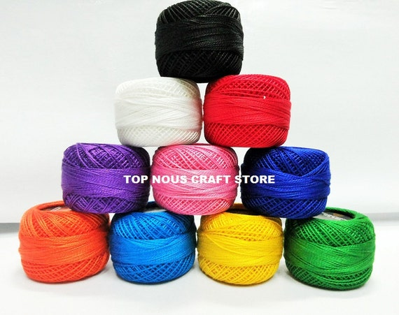 10 X 10 Grams Coats Anchor Pearl Cotton Crochet Threads Size 8 Etsy