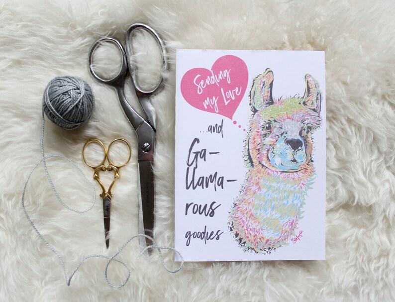 DIY Llama Sending my love Card  Printable PDF Download  image 2