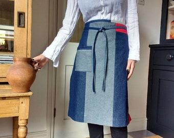 Denim half apron, 10 piece 'Boro' apron, individual one of a kind. No16:2