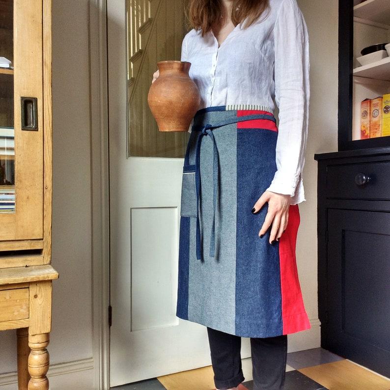 individual one of a kind denim waist apron womens apron Denim half apron 10 piece /'Boro/' apron mens apron No16:2