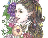 Custom Portrait in PrismaColor and Markers, Face with Flowers, Modern Designer Portrait, Mixed Media Designer From Your Photo