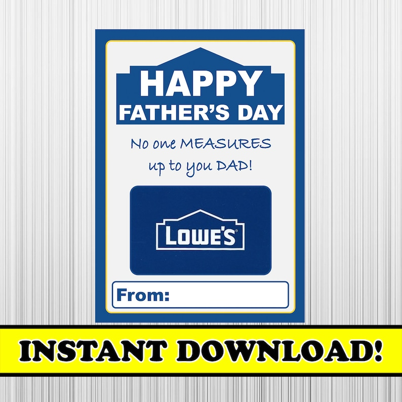 Father's Day Lowes, Lowe's Gift Card Holder, Fathers Day Gift Card, Fathers  Day Lowes Gift Card Holder, Instant Download