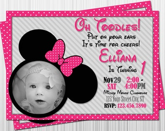 Minnie Mouse Birthday Invitation, Minnie Mouse Party Invitations, Printable Invitation, Digital Invitation, Birthday Party