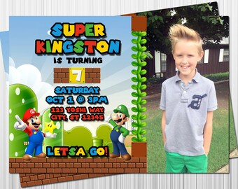 Super Mario Birthday Invitation, Mario and Luigi Party Invitations, Printable Invitation, Digital Invitation, Birthday Party