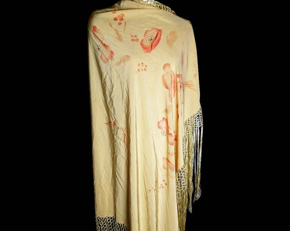 Vintage 1920's silk shawl, hand painted, poppy and butterfly, yellow silk piano shawl, long tassle fringing
