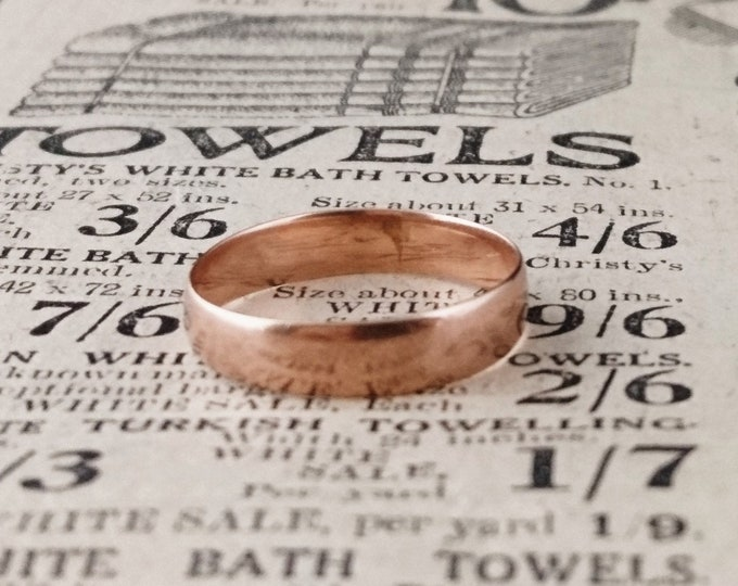 Antique rose gold wedding ring, 9ct gold, ladies wedding band, 1915