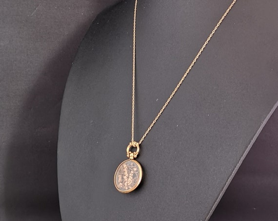 Antique Edwardian gold shaker pendant, shaker locket, gold necklace