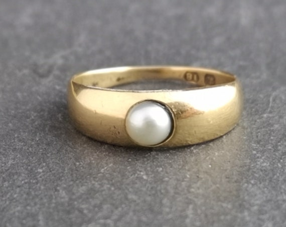 Antique 18ct gold pearl solitaire ring, Victorian gold band