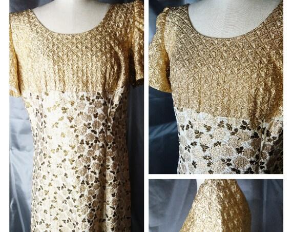 Vintage gold brocade dress, evening dress, cocktail dress, 1950's frock, Sale
