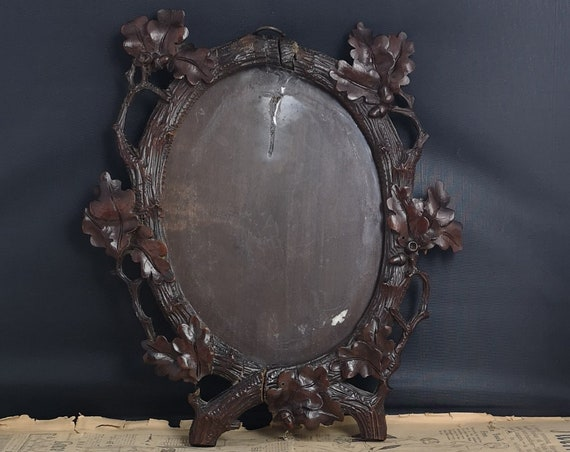 Antique black forest picture frame, oak leaves and acorns, photo frame