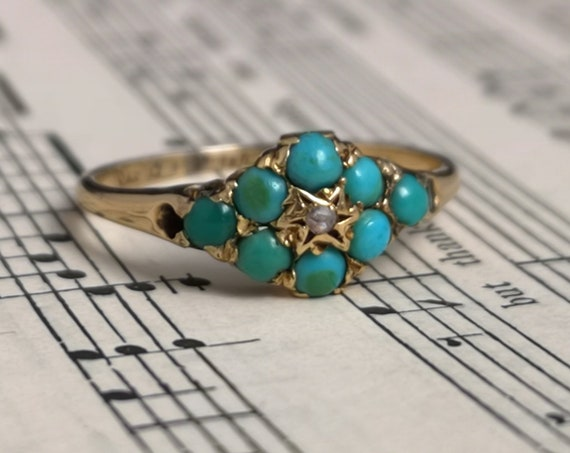 Antique turquoise and diamond ring, 18ct gold, Victorian gold flower ring, stackable, statement ring