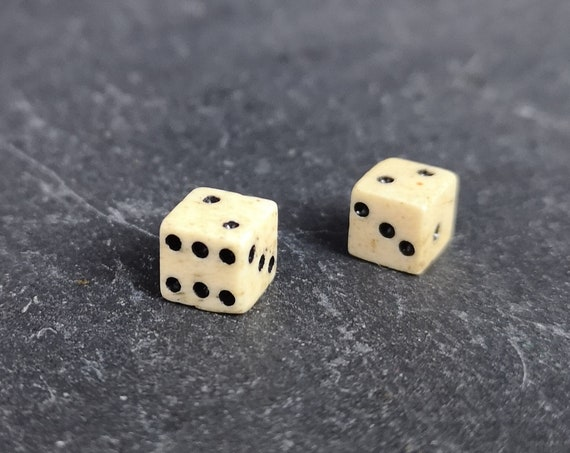 Antique Georgian bone dice, miniature