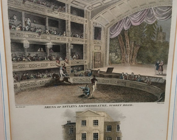 Antique copperplate Engraving, hand coloured, Arena of Astleys Amphitheater, 1815, Georgian era artwork, framed and glazed