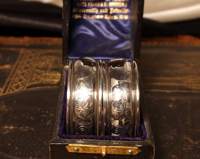 Antique sterling silver napkin rings, boxed pair, fully hallmarked, aesthetic engraved, Victorian napkin holders