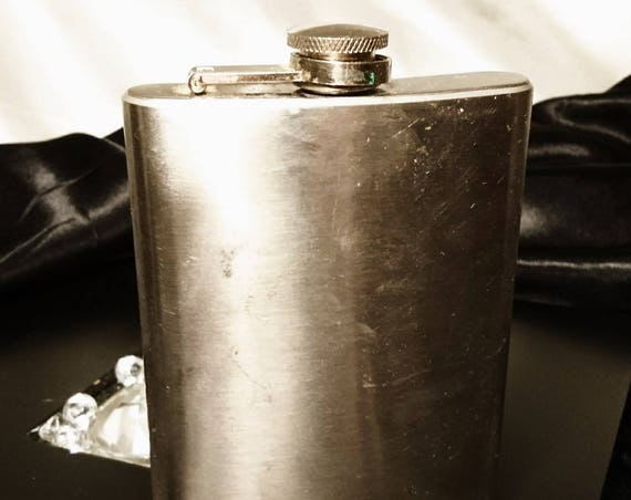 Vintage steel hip flask, screw top, 8oz large English steel hip flask