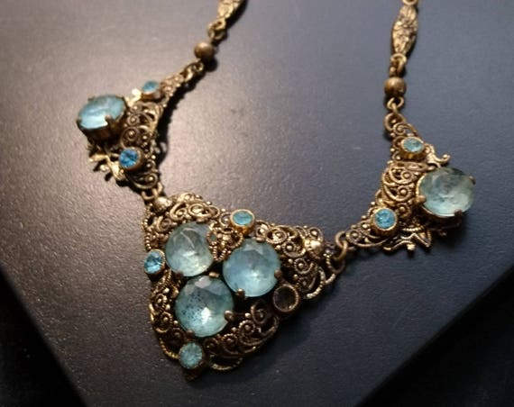 Art Deco gilt and foiled paste necklace, gorgeous blue and gilt filigree necklace, 1920's vintage estate jewellery