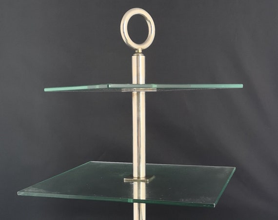 Vintage chrome and glass cake stand, Art Deco 3 tier cake stand