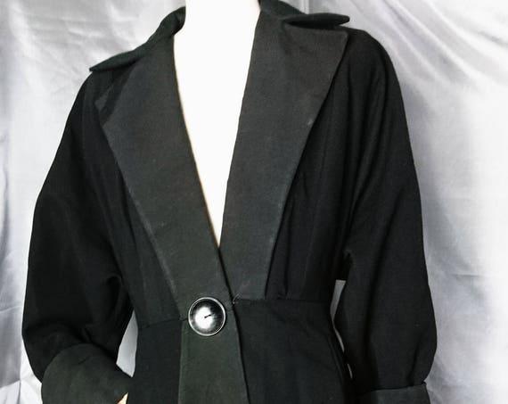 Vintage 1930's coat, Black gabardine princess coat, oversized cuffs, lapels and buttons