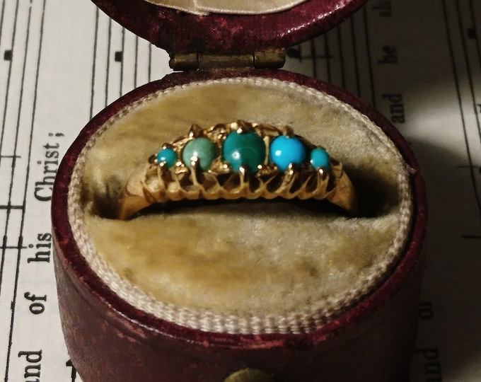 Antique turquoise ring, 18ct gold, Edwardian gold ring, boxed, stackable, statement ring