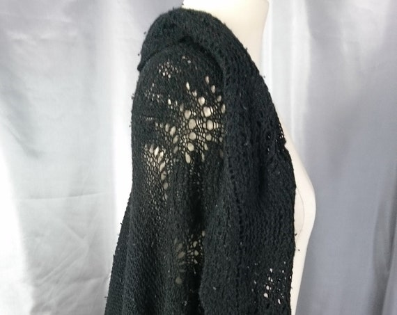 Antique wool crochet shawl, hand knitted, black Victorian shawl