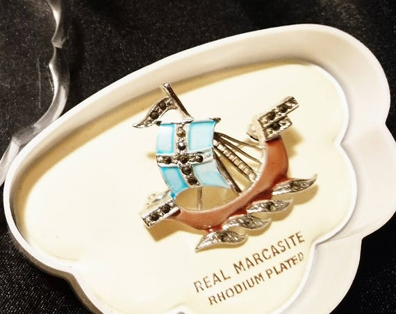 Vintage 20's marcasite ship brooch, enamelled boat, gift for mother, boxed