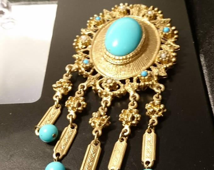 Antique pinchbeck and enamel brooch, Victorian Etruscan revival, gold pinchbeck and turquoise enamel
