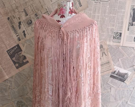 Vintage 20s pink devore shawl, burnout silk velvet
