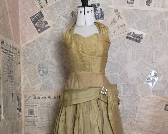 Vintage 1950's gold halterneck evening gown, party dress, prom