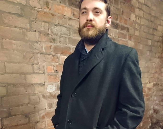 Vintage 40's mens coat, pure wool grey overcoat, 1940's Simpson tailoring, satin lined, mens coat