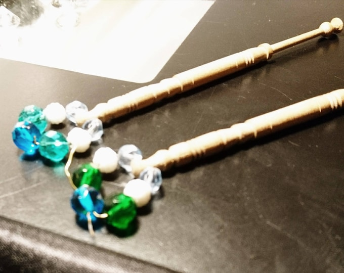 Pair of vintage lace bobbins, turned wooden handles, hand beaded, vintage lace work