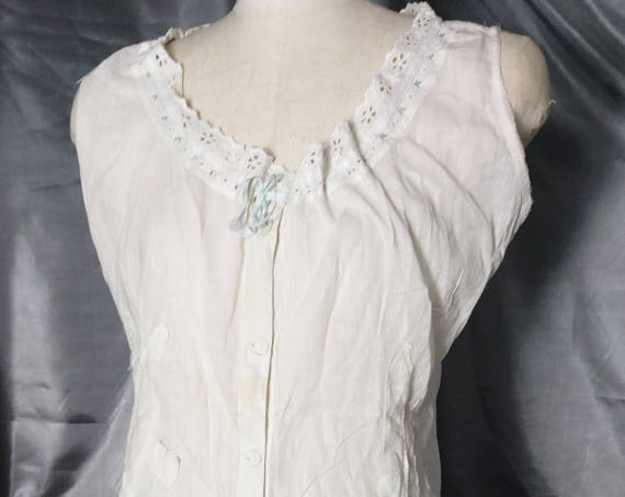 Victorian combination undergarment, all in one, chemise and drawers, antique, broderie anglaise