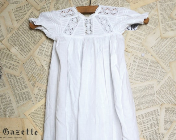 Antique christening gown, broderie anglaise, Victorian baby dress, doll clothes
