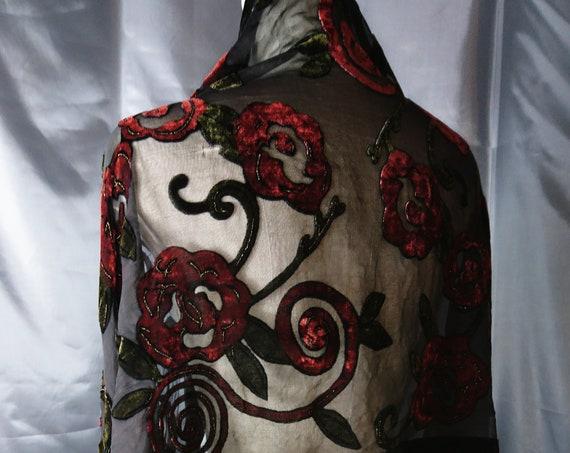 1920's vintage burnout scarf, floral design, velvet and silk chiffon shawl