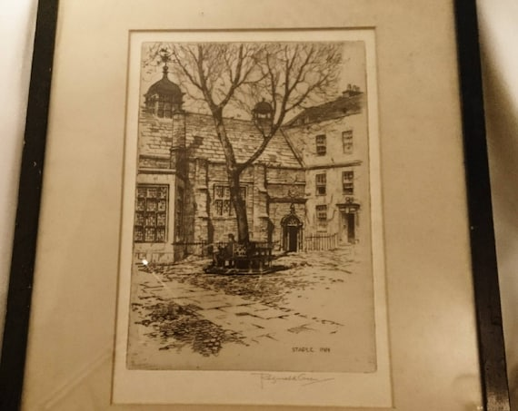 Antique fine art Etching, framed artwork by Reginald Green, Staple Inn, early 20th century, signed