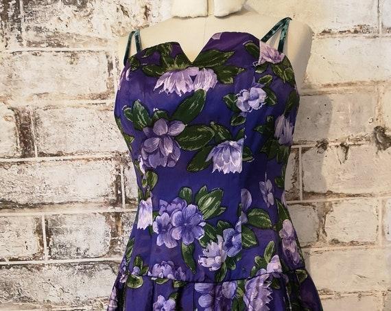 Vintage 50's dress, purple floral satin, full skirt, John Selby