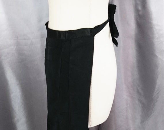 Antique housekeeping apron, long length black Victorian apron