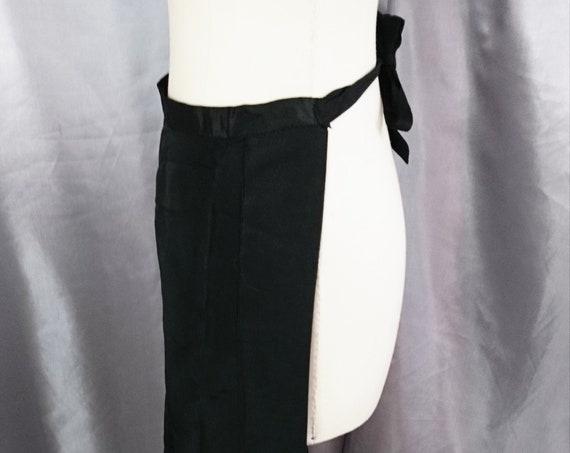 Antique housekeeping apron, long length black Victorian apron