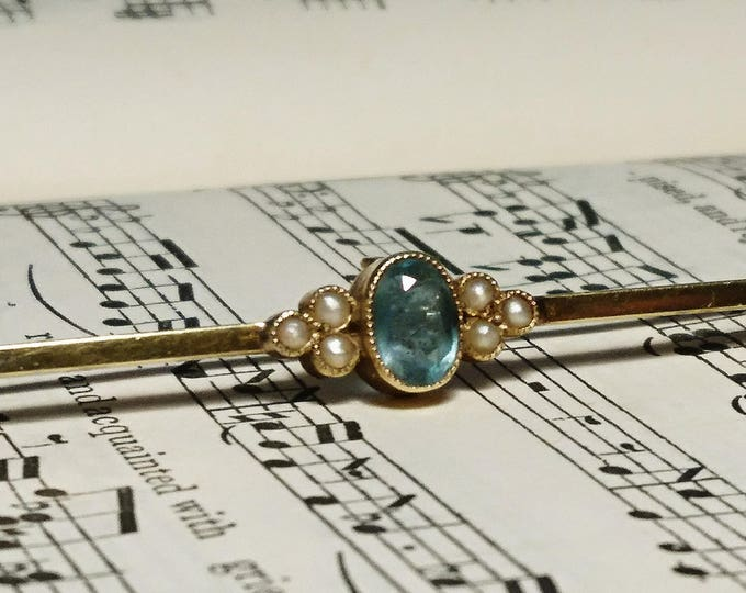 Antique 15ct seed Pearl and aquamarine bar brooch, Edwardian 15ct gold brooch