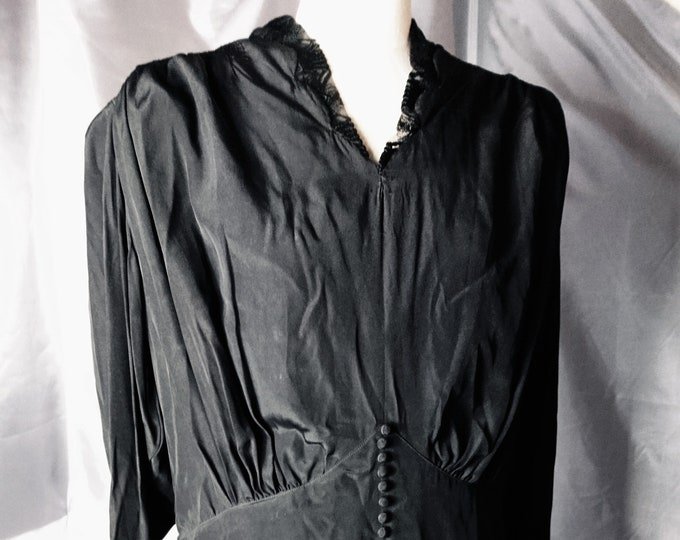 Antique mourning dress, vintage black silk dress, Button back and cuffs