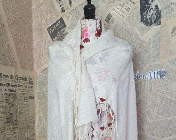 Antique silk shawl, embroidered cream silk